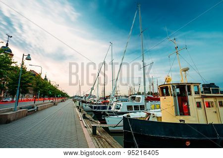 Embankment In Helsinki At Summer Evening, Finland. Town Quay