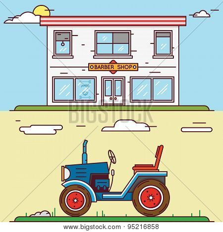 Vector Linear Flat Construct Your Village - Barber Shop And Tractor
