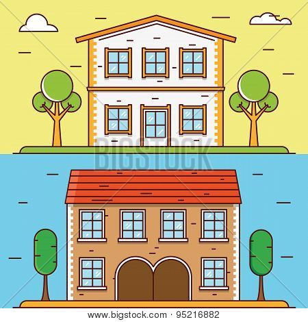 Vector Linear Flat Houses. Design Elements For Construct Or Infographics