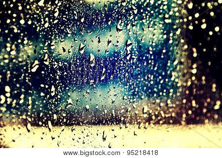 Window Condensation/water Drops On Glass