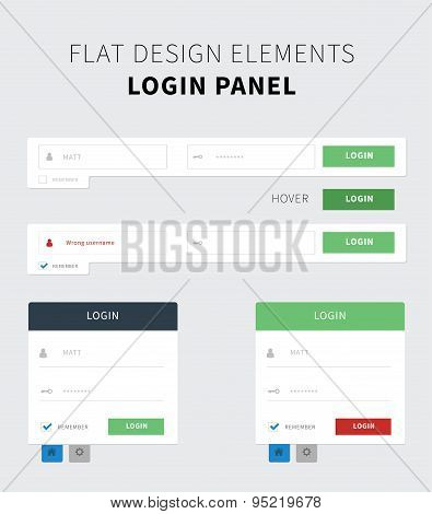Flat Ui Kit Login Panel Design
