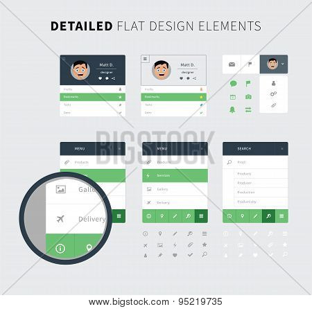 Flat Design Set Ui Kit For Web