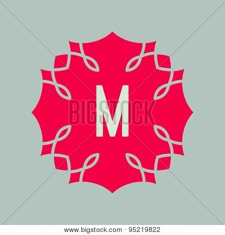 Vector icon letter M design element. Alphabet symbol. Red shape
