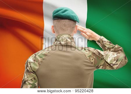National Military Forces With Flag On Background Conceptual Series - Ivory Coast