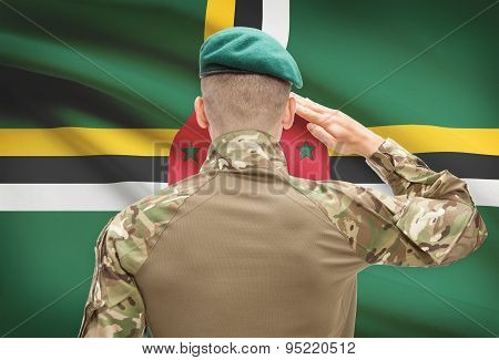 National Military Forces With Flag On Background Conceptual Series - Dominica