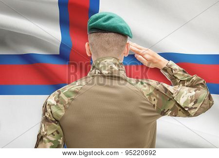 National Military Forces With Flag On Background Conceptual Series - Faroe Islands