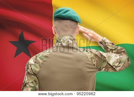 National Military Forces With Flag On Background Conceptual Series - Guinea-bissau