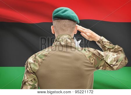 National Military Forces With Flag On Background Conceptual Series - Libya