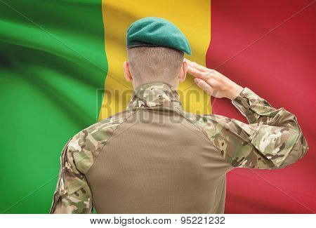 National Military Forces With Flag On Background Conceptual Series - Mali
