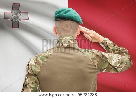 National Military Forces With Flag On Background Conceptual Series - Malta
