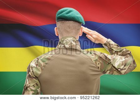 National Military Forces With Flag On Background Conceptual Series - Mauritius