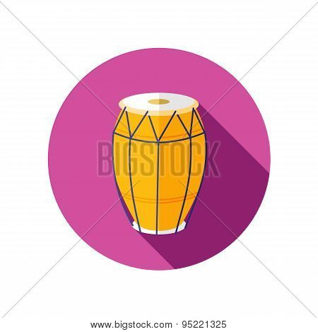 Drum Flat Icon With Long Shadow