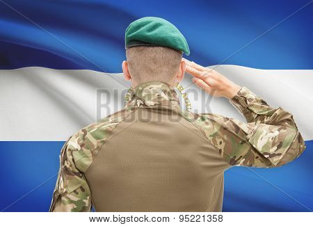 National Military Forces With Flag On Background Conceptual Series - Nicaragua