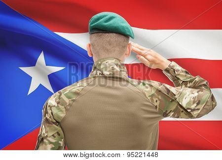 National Military Forces With Flag On Background Conceptual Series - Puerto Rico