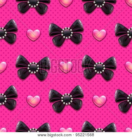 Black Bows And Hearts Pattern