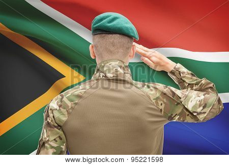 National Military Forces With Flag On Background Conceptual Series - South Africa