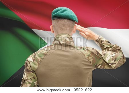 National Military Forces With Flag On Background Conceptual Series - Sudan