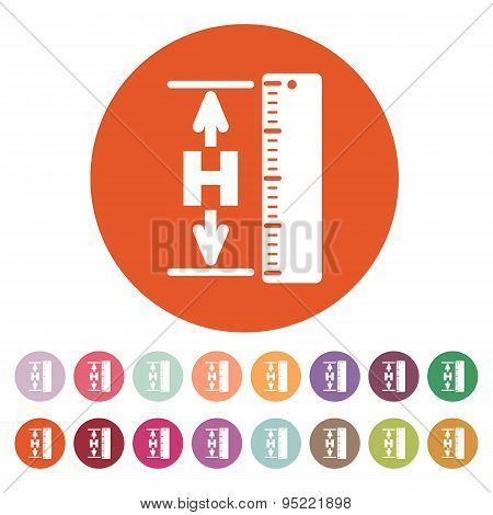 The Height Icon. Altitude, Elevation, Level, Hgt Symbol. Flat