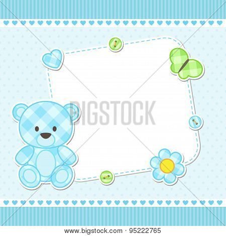 Blue Teddy Bear Card