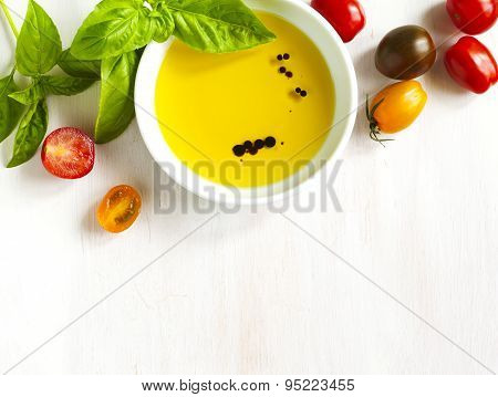 Fresh Tomatoes, Basil, Olive Oil With Balsamic Vinegar On Wooden Background