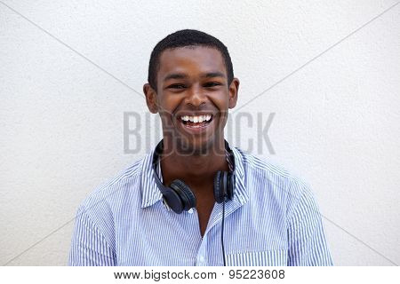 Happy Young Black Man Smiling With Headphones