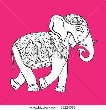 Elephant. Indian style. Decorative Vector illustration.