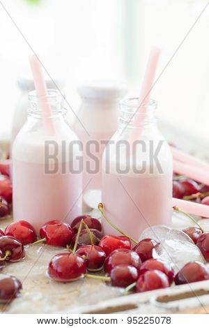 Creamy Milk Shake With Cherries
