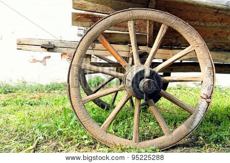 Retro Wooden Cart Wheel Taken Closeup.