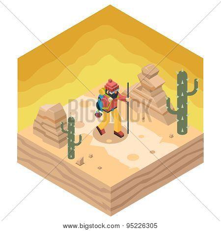 Backpacker Traveler Polygonal Character Walk Desert Road Cactus Nature Concept Isometric Flat Design