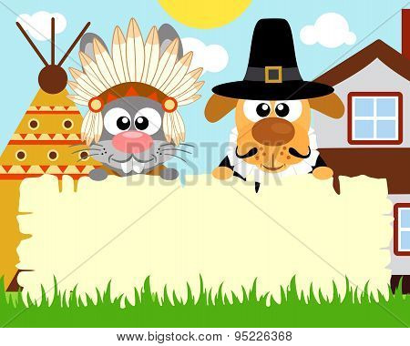 Thanksgiving day background with rabbit indian and dog pilgrim