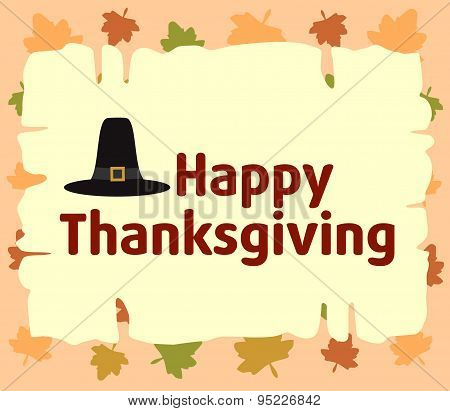 Happy thanksgiving  background with Pilgrim hat