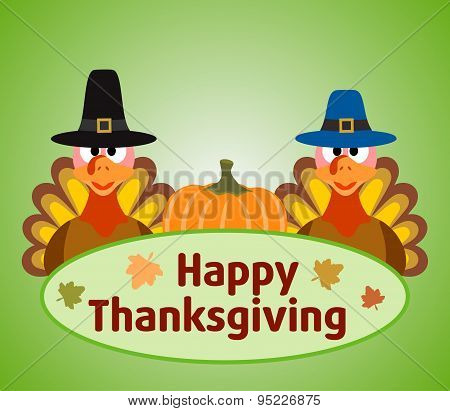 Thanksgiving  day background with turkey and pumpkin