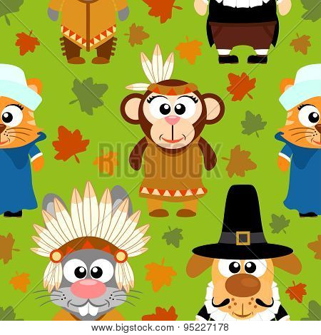 Thanksgiving Seamless Background With Funny Animals
