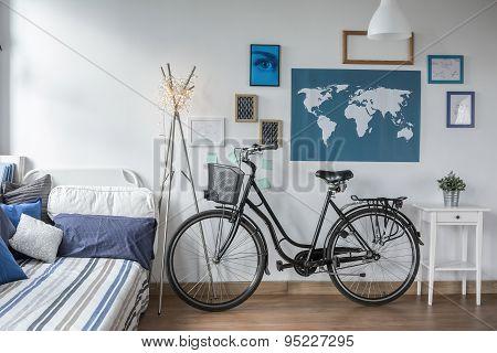 Retro Bicycle In Teen Bedroom