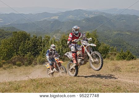 Bikers Riding Enduro Motorcycles Ktm 510 And Ktm Exc 250