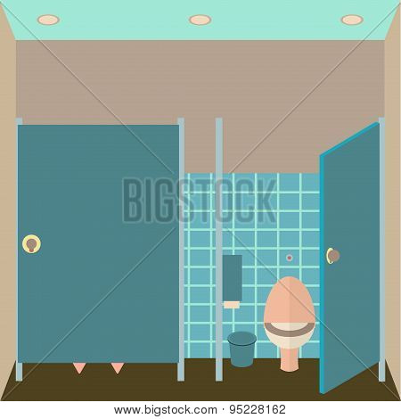 Toilet interior vector illustration. Lavatory in flat style. Women restroom design template. WC insi