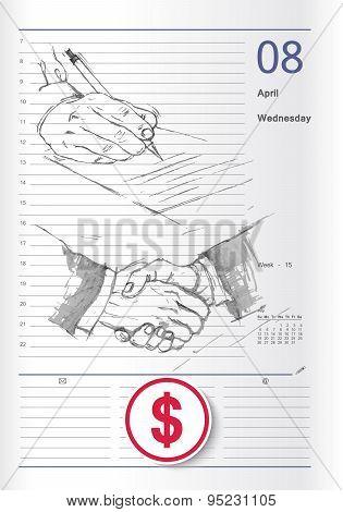 Sketch On Business Calendar