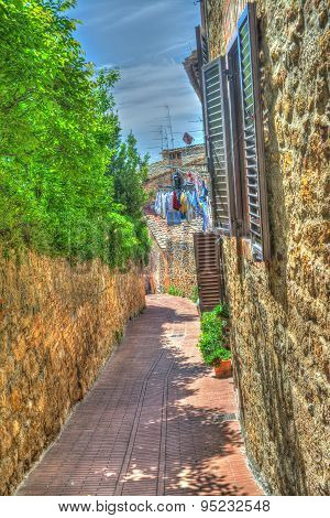 Corner Of San Gimignano In Hdr