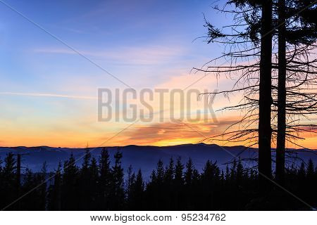Inspirational Landscape Sunset In Mountains