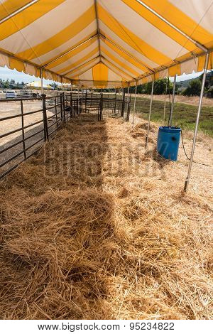 Open Corral Covering Hay On The Ground