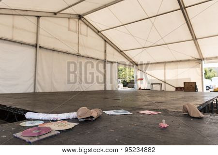Empty Tent With Stage After A Party