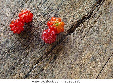Tropical fruit called Pitanga,Brazilian cherry,Suriname cherry,Cayenne cherry.Shallow deoth of field