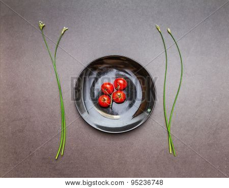 Tomato On The Dish For Health.