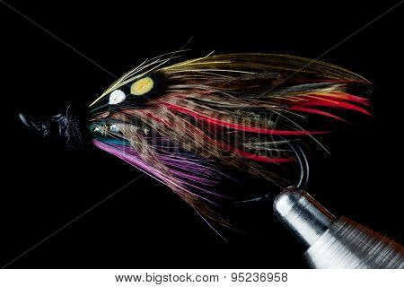 Salmon Fishing Fly On Fly Tying Vise On Black Background