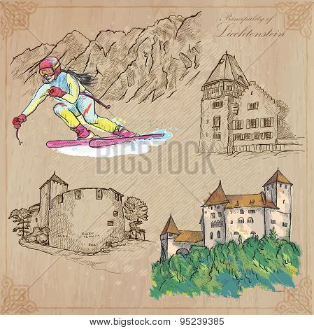 Liechtenstein (travel)  - An Hand Drawn Vector Pack