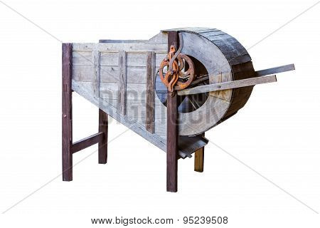 Old Wooden Rice Milling Machine.