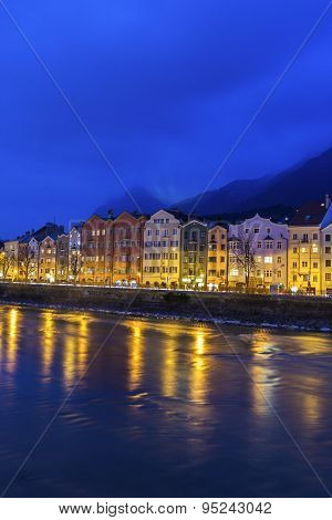 Houses On Mariahilfstrasse In Innsbruck In Austria