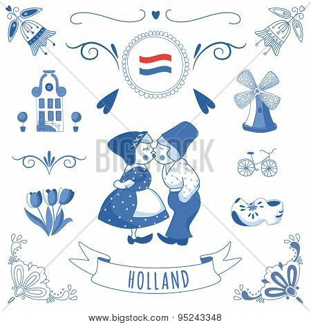 Collection Of Dutch Ornaments (deflt Blue Style)