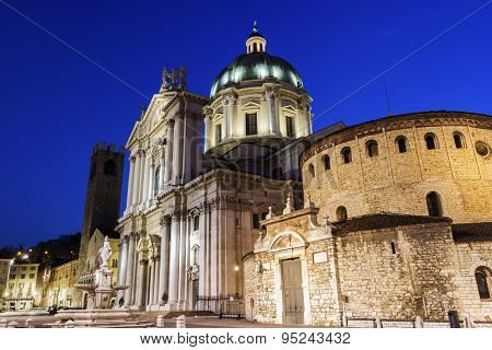 New And Old Cathedrals In Brescia In Italy