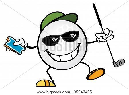 Golf ball vector cartoon holding a pair of tickets